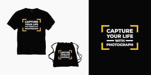 Uwiecznij swoje życie dzięki projektowi typografii fotograficznej na koszulkę, torbę lub towar