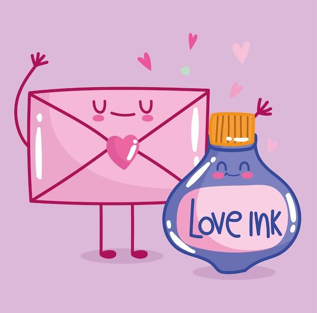 Uwielbiam butelkę atramentu w romantycznej kopercie w stylu kreskówki