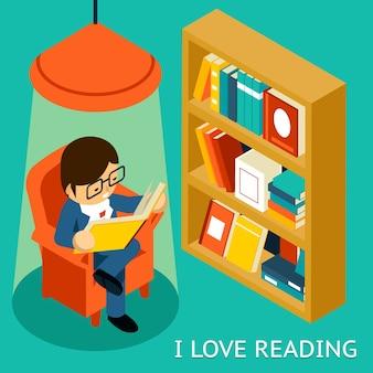 Uwielbiam czytać, izometryczny ilustracja 3d. mężczyzna siedzi w fotelu, czytając książkę w pobliżu półki na książki