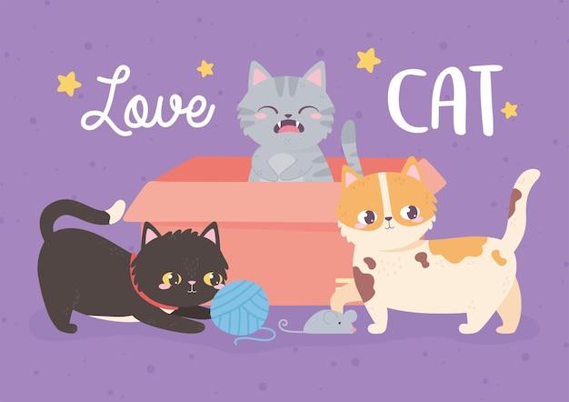 Uwielbiam Koty Ilustracja Premium Wektorów