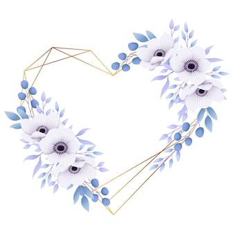 Uwielbiam kwiatowy rama tło z kwiatami anemon