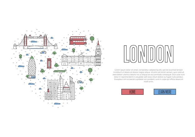 Uwielbiam londyński szablon w stylu liniowym