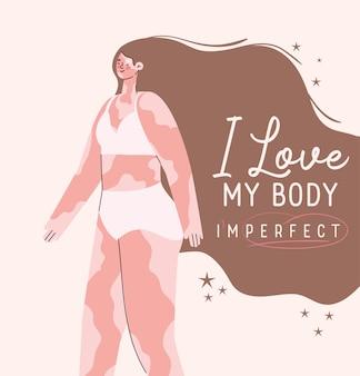 Uwielbiam moje ciało niedoskonałe idealne bielactwo kobieta kreskówka w projektowaniu bielizny, dbaj o siebie