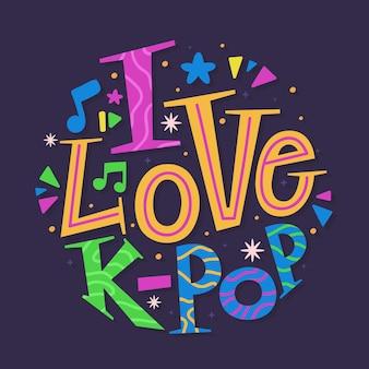 Uwielbiam muzykę k-pop - liternictwo