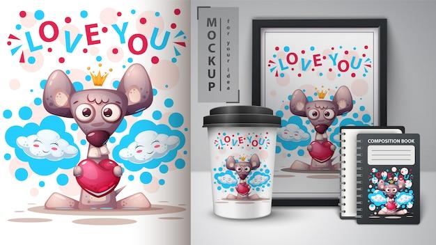 Uwielbiam plakat myszy i merchandising