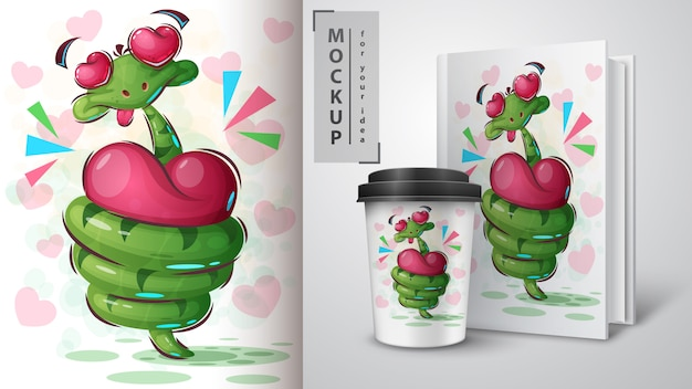 Uwielbiam plakat węża i merchandising