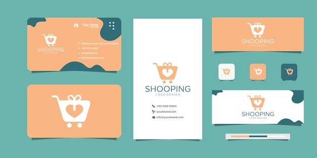 Uwielbiam projekt logo shopping na rynku i wizytówce