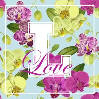 Uwielbiam projekt romantyczny kwiatowy wiosenny lato z fioletowymi kwiatami orchidei do druku