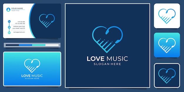 Uwielbiam projektowanie logo muzyki z szablonem wizytówek. kreatywna miłość i muzyka minimalistyczny nowoczesny design.