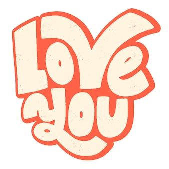 Uwielbiam swój handdrawn typografii napis cytat o miłości na walentynki i wesele