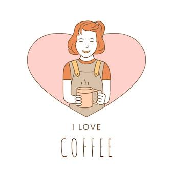 Uwielbiam szablon projektu banner kawy. dziewczyna trzyma filiżankę kawy.