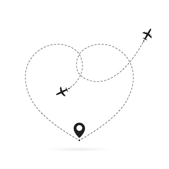 Uwielbiam trasę samolotem. romantyczne podróże, ślad przerywaną linią serca i trasy samolotowe. hearted samolotów