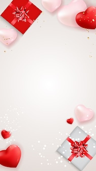 Uwielbiam walentynki tło z pudełka i serca.