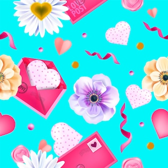 Uwielbiam Wiosna Walentynki Wzór, Tło Z Kwiatami Zawilec, Koperty, Serca, Konfetti. Romantyczne Wakacje Kwiatowy Powtarzać Teksturę Na Niebiesko. Walentynki Ozdobny Kwiat Wzór Premium Wektorów