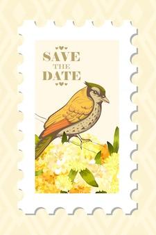 Uwielbiam znaczek pocztowy z ptakiem.