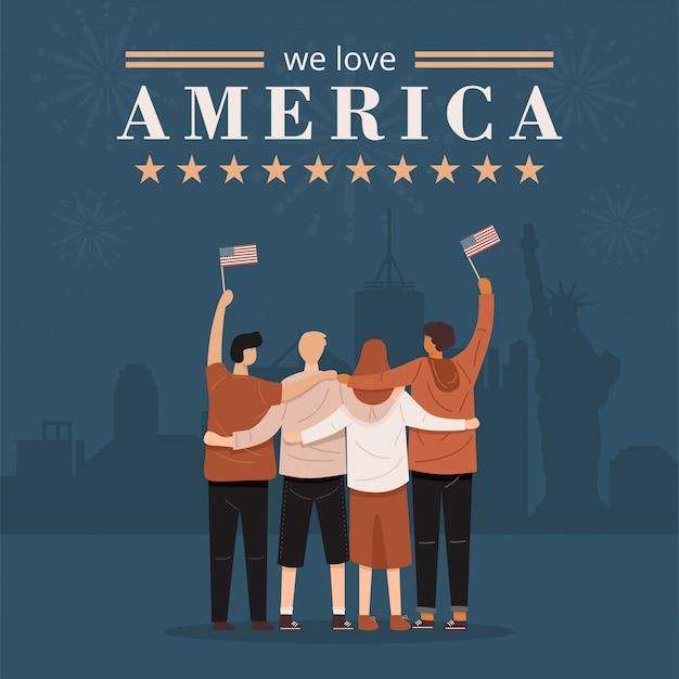 Uwielbiamy america banner. widok z tyłu ludzi przytulających się razem i trzymając flagę stanów zjednoczonych, wektor