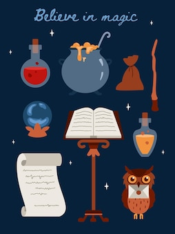 Uwierz w magiczny szablon karty lub plakatu z ilustracją wektorową płaskiego tekstu