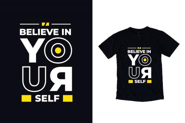 Uwierz w siebie, nowoczesna typografia cytat czarna koszulka