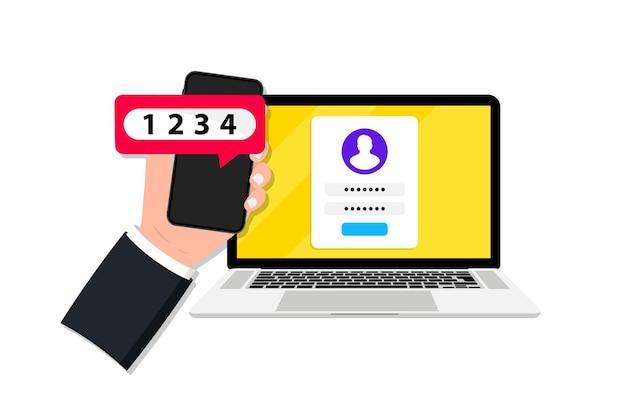 Uwierzytelnianie dwu- lub wieloskładnikowe w smartfonie i laptopie. weryfikacja w duecie. zweryfikuj prośbę o pozwolenie. weryfikacja logowania bezpiecznego hasła 2fa za pomocą sms z kodem push. dwuetapowa tożsamość