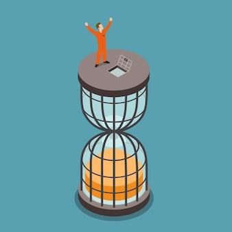 Uwolniony z więzienia płaska izometryczna koncepcja końca kary pozbawienia wolności