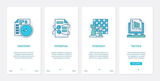 Ux badania strategii taktyki biznesowej, zestaw ekranów strony aplikacji mobilnej wprowadzający interfejs użytkownika