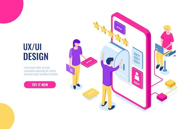 Ux ui design, aplikacja do rozwoju mobilnego, budynek interfejsu użytkownika, ekran telefonu komórkowego