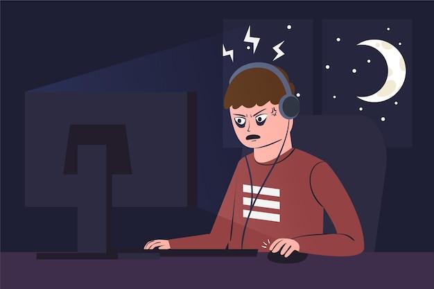 Uzależnienie od gier online z mężczyzną grającym w nocy
