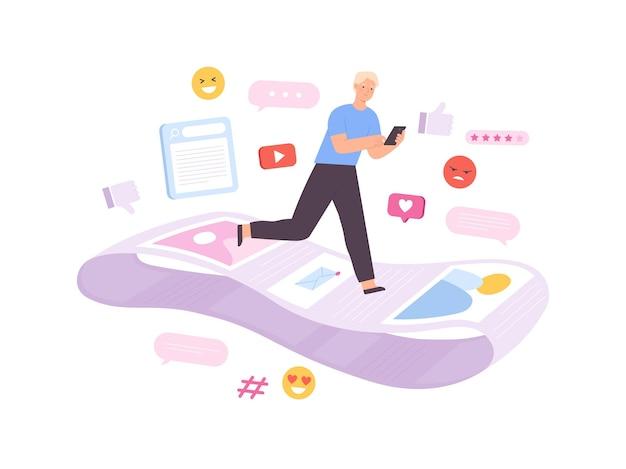 Uzależnienie od sieci społecznościowych, człowiek biegający na niekończącej się linii powiadomień. informacje zwrotne uzależniony charakter przewija strony internetowe, koncepcja płaski wektor
