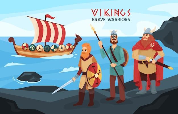 Uzbrojeni wikingowie dzielni wojownicy marynarze na czarnych skałach wybrzeża z gotowym do rajdu statkiem morskim