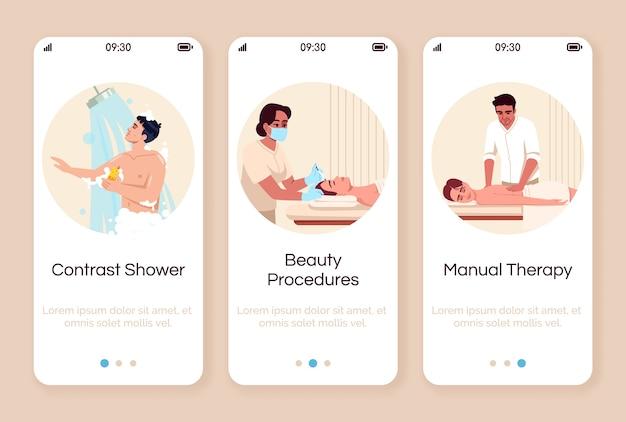Uzdrowisko wprowadzanie szablonu ekranu aplikacji mobilnej. gorący prysznic. zabieg kosmetyczny. pielęgnacja i rozpieszczanie ciała. przejrzyj kroki witryny ze znakami. ux, ui, gui na smartfonie
