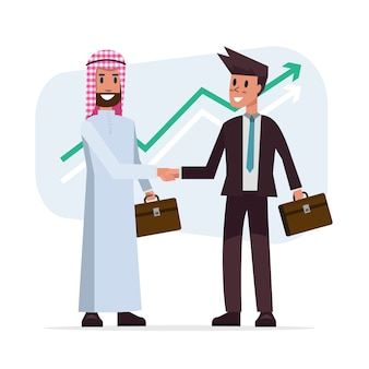 Uzgadnianie transakcji biznesowych z arabskimi i europejskimi mężczyznami etnicznymi