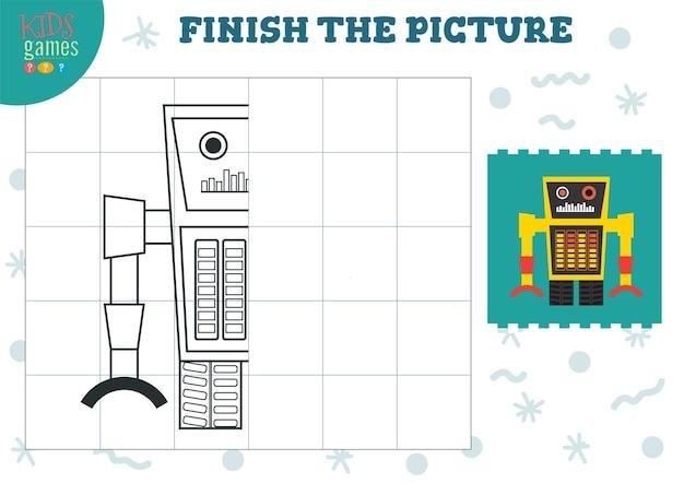 Uzupełnij ilustrację obrazkową gra o wykończeniu i kolorowaniu dla dzieci w wieku przedszkolnym i przedszkolnym połowa postaci robota do rysowania i edukacji
