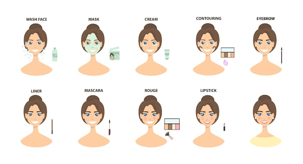 Uzupełnij kroki. od zaciśnięcia twarzy do pełnego makijażu twarzy.