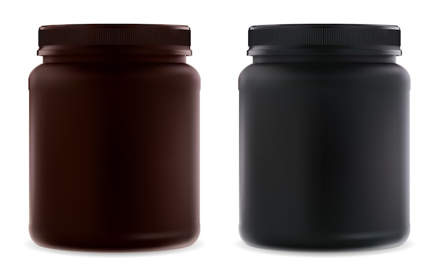 Uzupełnij pusty słoik. butelka z czarnym białkiem. pojemnik na proszek serwatkowy.