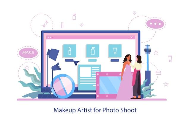 Uzupełnij usługę online. witryna internetowa dla artystów makijażu. visagiste robi makijaż modelce do sesji zdjęciowej. ilustracja na białym tle wektor