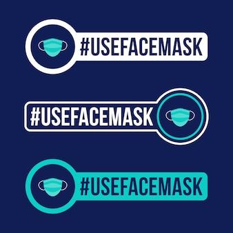 Użyj maski na twarz zapobieganie ilustracji naklejki z ikoną covid-19. odznaka ochronna koronawirusa z ikoną płaskiego koła.