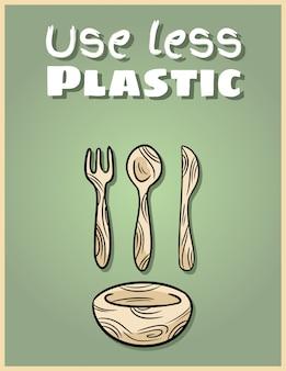 Użyj mniej plastikowego plakatu na bambusowe naczynia. fraza motywacyjna. produkt ekologiczny i bezodpadowy. idź na zielone życie