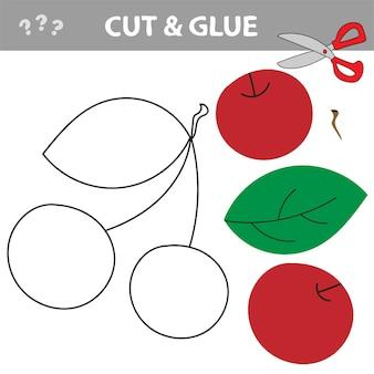 Użyj nożyczek i kleju i przywróć obraz wewnątrz konturu. łatwa edukacyjna gra papierowa dla dzieci. prosta aplikacja dla dzieci z czerwonymi wiśniami