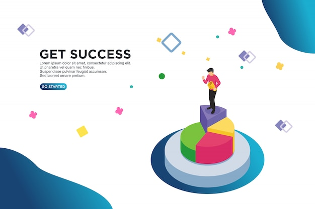 Uzyskać sukces izometryczny wektor ilustracja koncepcja