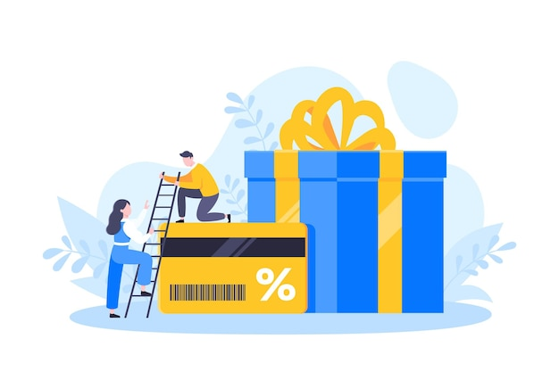 Uzyskaj kartę lojalnościową i koncepcja biznesowa obsługi klienta płaska konstrukcja ilustracji wektorowych