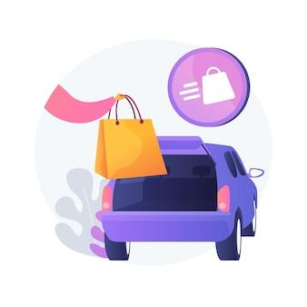 Uzyskaj materiały eksploatacyjne bez opuszczania ilustracji koncepcyjnej samochodu. odbiór przy krawężniku, numer zamówienia, telefon do sklepu, bezdotykowy odbiór artykułów spożywczych, składanie zamówienia w bagażniku