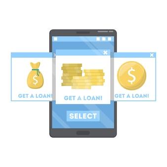 Uzyskaj pożyczkę online. strona internetowa z bankiem online na smartfonie. wyszukiwanie najlepszej strony internetowej. płać pieniądze przez internet. ilustracja