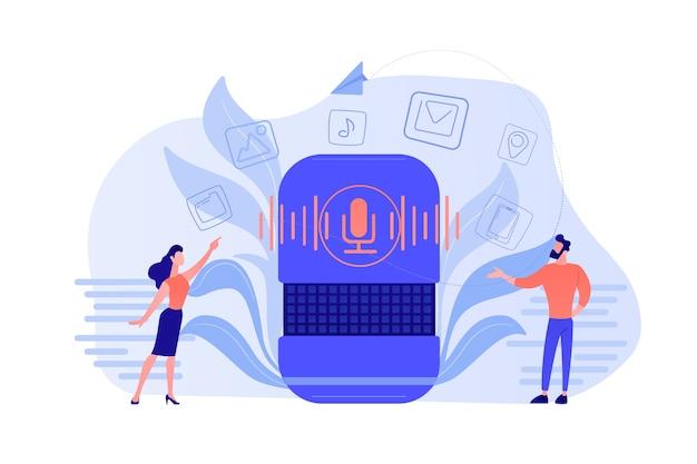 Użytkownicy kupujący aplikacje do inteligentnych głośników online. sklep internetowy z aplikacjami inteligentnych asystentów, koncepcja rynku aplikacji z asystentami cyfrowymi aktywowanymi głosem. ilustracja wektorowa na białym tle.