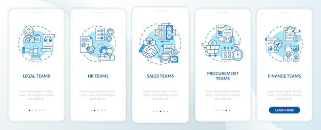 Użytkownicy oprogramowania do zarządzania umowami wdrażający ekran strony aplikacji mobilnej z koncepcjami. kroki przewodnika po zespołach zasobów ludzkich. ilustracje szablonów interfejsu użytkownika