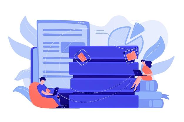 Użytkownicy pracujący na laptopach z wprowadzaniem danych. usługi i technologia big data, sprzęt do wprowadzania informacji, aktualizacja bazy danych i koncepcja zarządzania danymi. ilustracja wektorowa na białym tle.