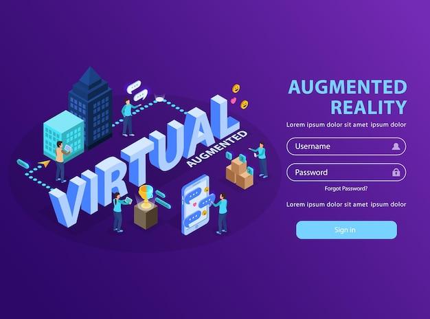 Użytkownicy serwisu rzeczywistości rozszerzonej wizualizujący informacje tworząc wirtualne ekrany smartfonów izometryczny szablon strony logowania