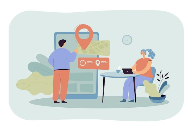 Użytkownicy technologii cyfrowej korzystający z aplikacji do umawiania spotkań i rezerwacji na gigantycznym smartfonie