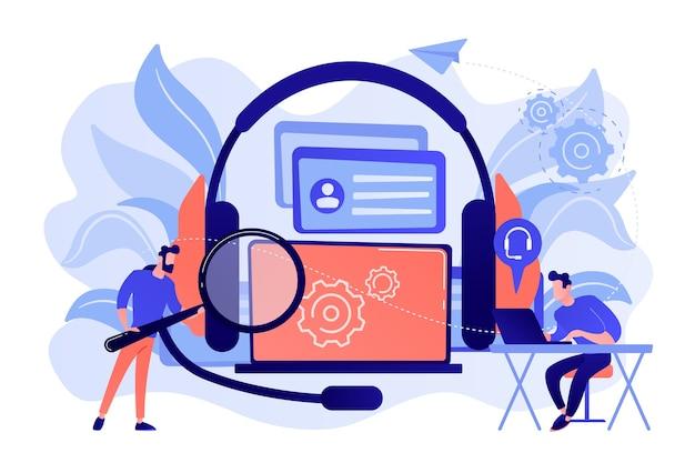 Użytkownik końcowy z lupą znajdujący informacje w laptopie z zestawem słuchawkowym. samoobsługa klienta, system e-wsparcia, ilustracja koncepcji elektronicznej obsługi klienta