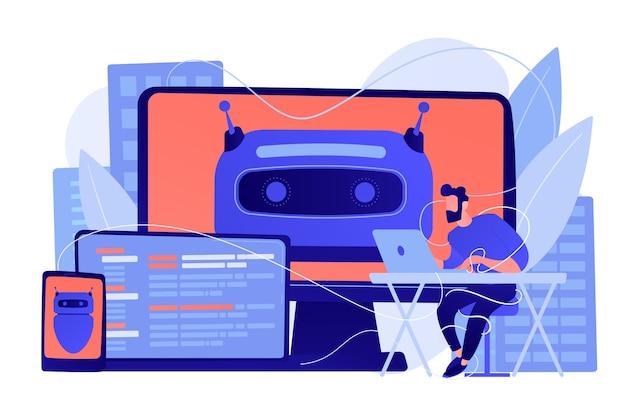 Użytkownik korzystający z ekranów komputerów, laptopów i tabletów z chatbotem i cyfrowymi nawykami. cyfrowe samopoczucie, cyfrowe zdrowie, koncepcja zarządzania stresem
