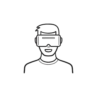 Użytkownik nosi okulary wirtualnej rzeczywistości ręcznie rysowane konspektu doodle ikona. zestaw słuchawkowy do rzeczywistości wirtualnej, koncepcja gadżetu vr. szkic ilustracji wektorowych do druku, sieci web, mobile i infografiki na białym tle.